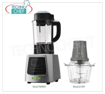 EASYLINE - Technochef, Professional Thermal Blender and Manual Cutter, Mod.TM905 + Q109 Blender with cooking function, EASYLINE-FIMAR, touch screen panel, speed 26000 rpm, including manual cutter, V.230 / 1, Kw.2.2 (Kw 1.00 for motor + Kw.1.2 for heating) , dim.mm.250x195x503h