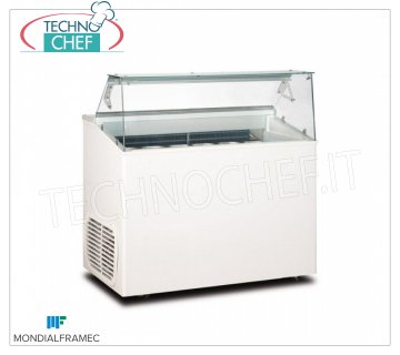 MONDIAL FRAMEC - Display cabinet for creamed ice cream, lt. 293, Mod.TOP7 Display cabinet for creamed ice cream, MONDIAL FRAMEC, capacity 293 liters, temperature -15 ° / -20 ° C, STATIC FINNED PARCEL evaporator, V. 230/1, Kw 0.48, Weight 99 Kg, dim.mm.1350x673x1175h