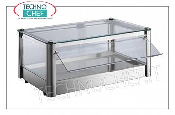 Neutral counter display counters 1-PIANO SWITCH NEUTRA EXHIBITION, STAINLESS STEEL STRUCTURE, 4-SIDED GLASS, PORTABLE OPERATING PLEXIGLASS DOOR, suitable for Gastro-Norm 2/3, Weight Kg.7, dim.mm.370x370x240h