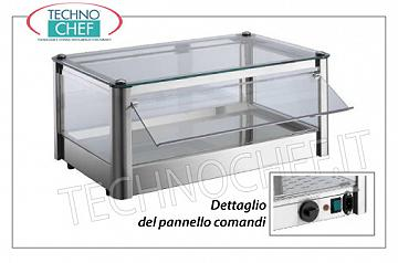Hot counter display cases DISPLAY HOT DISPLAY, counter-top, 1-STAGE, STAINLESS STEEL, glass on 4 sides, Plexiglas drop-side doors operator side, complete with HUMIDIFIER, temperature from + 30 ° to + 90 ° C, suitable for GN 2/3, V .230 / 1, Kw.0,5, dim.mm.370X370X240h