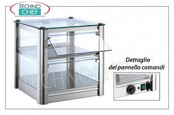 Hot counter display cases DISPLAY HOT DISPLAY bench, with 2 PLANS, STAINLESS STEEL STRUCTURE, glass on 4 sides, Plexiglas drop-side doors operator side, complete with HUMIDIFIER, temperature from + 30 ° to + 90 ° C, suitable for GN 2/3, V .230 / 1, Kw.0,5, dim.mm.370X370X390h
