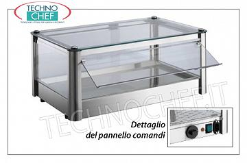 Hot counter display cases DISPLAY HOT DISPLAY, counter-top, 1-STAGE, STAINLESS STEEL, glass on 4 sides, Plexiglas drop-side doors operator side, complete with HUMIDIFIER, temperature from + 30 ° to + 90 ° C, suitable for GN 1/1 containers, V .230 / 1, Kw.0,5, dim.mm.570X370X240h