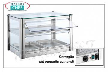 Hot counter display cases DISPLAY HOT DISPLAY bench, 2-STOREY, STAINLESS STEEL STRUCTURE, glass on 4 sides, Plexiglas drop-side doors operator side, complete with HUMIDIFIER, temperature from + 30 ° to + 90 ° C, suitable for GN 1/1, V .230 / 1, Kw.0,5, dim.mm.570X370X390h