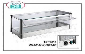 Hot counter display cases DISPLAY HOT DISPLAY, counter-top, 1-STAGE, STAINLESS STEEL, glass on 4 sides, Plexiglas drop-side doors operator side, complete with HUMIDIFIER, temperature from + 30 ° to + 90 ° C, suitable for GN 1/1 + 1 pans / 2, V.230 / 1, Kw.1.00, dim.mm.870X370X240h