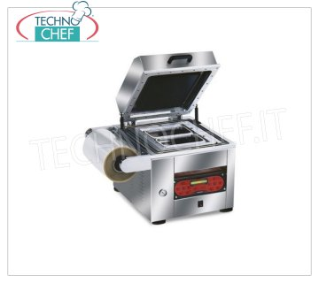 EUROMATIC - Technochef, Vacuum / gas semiautomatic thermosealers for trays, Mod.TRAY 600 Vacuum / gas heat sealer, for PREFORMED TRAYS, AUTOMATIC from BANCO with DIGITAL CONTROLS, for CONTAINERS MAX. MEASURES of 265x325 mm, V 230/1, Kw 1.8, Weight 120 Kg, external dimensions 610x600x560h