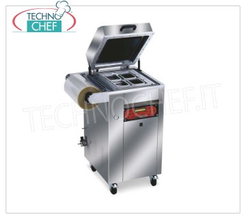 EUROMATIC - Technochef, Vacuum / gas semiautomatic thermosealers for trays, TRAY 800 Vacuum / gas thermosealer, for PRE-FORMED TRAYS, AUTOMATIC on WHEELED MOBILE, digital controls, for CONTAINERS, MAX 265x325 mm, V 230/1, Kw 1.8, Weight 180 Kg, external dimensions 610x600x1100h