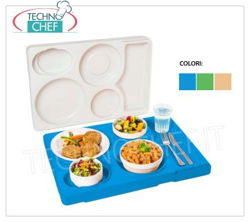Isothermal tray for dishes in melamine, differentiated temperature Isothermal tray for transporting a single meal at differentiated temperatures, 4 compartments for housing plates in melanin, blue color, weight 3 Kg, dim.mm.530x370x105h