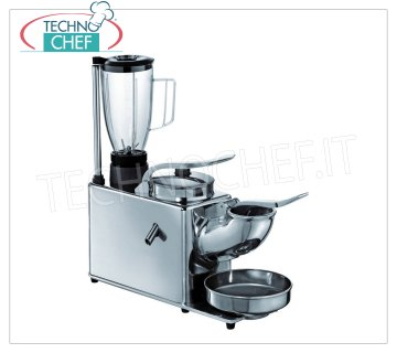 TECHNOCHEF - Ice crusher / Citrus squeezer / Professional blender, TSB mod Multiple group consisting of 3 functions: Ice crusher / Juicer / Blender with stainless steel and aluminum structure, V.230 / 1, Kw.0.9, Weight 17.50 Kg, dim.mm.480x180x530h
