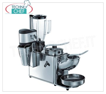 TECHNOCHEF - Ice crusher / Citrus juicer / Blender / Professional mixer, Mod. TSBM Multiple group consisting of 4 functions: Ice crusher / Juicer / Blender / Mixer with stainless steel and aluminum structure, V.230 / 1, Kw.1.05, Weight 20 Kg, dim.mm.480x345x530h