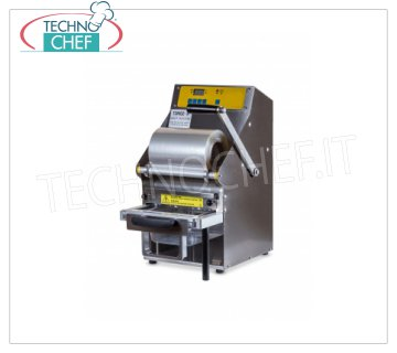 TECHNOCHEF - Manual Lever Thermosealer for Trays, Mod.TSM102-R MANUAL LEVER-HAND THERMO-SEALING MACHINE WITHOUT MOLD, for PREFORMED TRAYS with MAXIMUM SIZE of mm 260x195x155h, V.230 / 1, kw 0.7, dimensions mm 315x450x555h