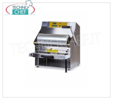 TECHNOCHEF - Manual Lever Thermosealer for Trays, Mod. TS105-R MANUAL LEVER-HAND THERMO-SEALING MACHINE WITHOUT MOLD, for PREFORMED TRAYS with MAXIMUM SIZE of mm 370x280x155h, V.230 / 1, kw 1.4, dimensions mm 485x510x555h