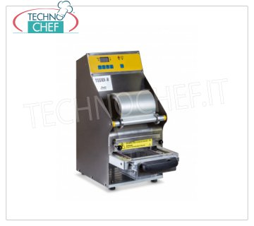 TECHNOCHEF - Semiautomatic traysealer for trays, Mod.TSS101-R SEMIAUTOMATIC bench-top THERMO-SEALING MACHINE WITHOUT MOLD, for PREFORMED TRAYS with MAX SIZE of mm 205x150x100h, V.230 / 1, kw 0,55, dimensions mm 240x390x500h
