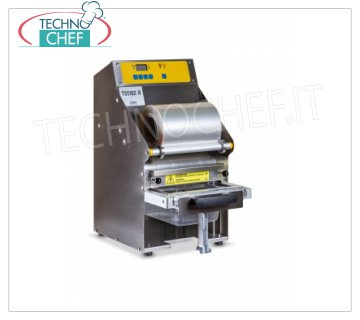 TECHNOCHEF - Semiautomatic traysealer for trays, Mod.TSS102-R SEMIAUTOMATIC bench thermosealer, STAINLESS STEEL and ANODISED ALUMINUM structure, automatic film sealing and dragging system, electronic temperature control, V.230 / 1 kw 0.75, dimensions 295x450x550h mm