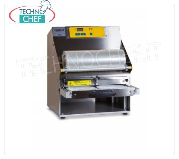 TECHNOCHEF - Semiautomatic traysealer for trays, Mod.TSS105-R SEMIAUTOMATIC bench-top THERMO-SEALING MACHINE WITHOUT MOLD, for PREFORMED TRAYS with MAX SIZE of mm 370x280x155h, V.230 / 1, kw 1,5, dimensions mm 460x510x555h