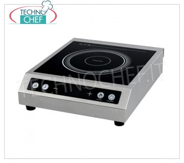 TECHNOCHEF - Table Induction Plate, Inductive Surface Ø 120 ÷ 260 mm, Mod.TT350TOUCH INDUCTION PLATE for table with glass ceramic top, INDUCTIVE SURFACE diameter from 120 to 260 mm, 10 power levels, digital display and Touch touch controls, V.230 / 1, Kw.3.5, Weight 5.5 Kg, dim.mm.340x410x105h