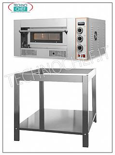 Modular pizza oven with gas, 920x920x155h mm chamber 1 chamber gas pizza oven mm. 920x920x155h, for 9 pizzas diam. 300 mm., Refractory top, thermal power 27.00 Kw, dimensions east. mm. 1320x1220x475h