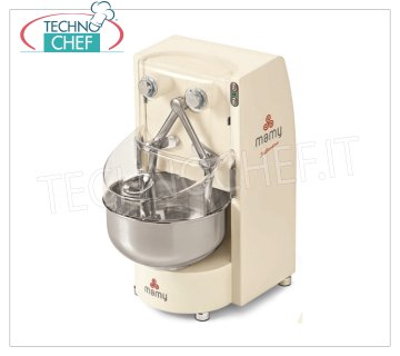 TUFFANTI MIXER with ARMS, Line MAMY lt.10, Mod.TUFFANTINA T7 TUFFANTI ARM MIXER, MAMY line, with 10 l stainless steel bowl, dough capacity 7 Kg, V.230 / 1, Kw.0.5, Weight 52 Kg, dim.mm.370x510x695h
