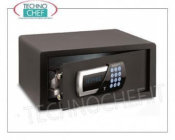 Technochef - Safes for hotel rooms Safe for furniture, with digital motorized electric lock, signaling of all functions via blue LED display, capacity 27 liters, weight 14.5 kg, dim.mm.200x405x410h