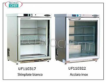 TECHNOCHEF - Professional Freezer Cabinet 1 glass door, lt.129, negative temperature Freezer with 1 glass door, roll bond, temp-15 ° -25 °, lt.129, white skinplate