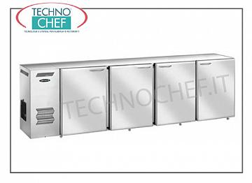 Fridge bars for bar Multipurpose refrigerated refrigerator, 4 stainless steel doors, ventilated, temperature + 2 ° + 8 °, V 230/1, kW 4,23, dim. Mm 2400x540x850h.