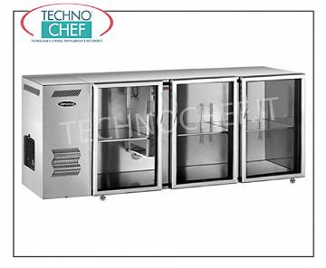 Refrigerated tables for bars Refrigerated multi-purpose refrigerator, 3 glass doors, ventilated, temp + 2 ° + 8 °, stainless steel / stainless steel