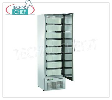 Industrial-Professional Refrigerator Cabinet for Fresh Fish, 1 door, lt.307 Refrigerator 1 door STAINLESS STEEL AISI 304, 307 liters, working temperature -5 ° / + 5 ° C, static refrigeration, with 8 boxes 426x378x137h included, V 230/1, kw 0.28, dimensions 555x572x1875h