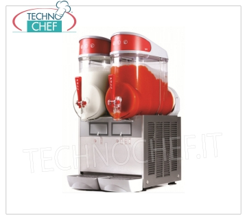 TECHNOCHEF - Machine for Granite / Sorbets / Cold Creams with 2 tanks of lt.10, Mod.MT2 Table-top sorbet with 2 10-liter tanks in unbreakable non-toxic polycarbonate, stainless steel body, air-cooled condenser, V.230 / 1, Kw.1.1, Weight 37 Kg, dim.mm.360x470x690h