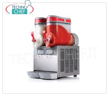 TECHNOCHEF - Machine for Granite / Sorbets / Cold Creams with 2 lt.6 TANKS, Mod.MT2MINI / G Table slush machine, Mini Line, with 2 6 liter tanks in unbreakable non-toxic polycarbonate, stainless steel body, air cooled condenser, V.230 / 1, Kw.1.1, Weight 38 Kg, dim.mm.360x470x650h