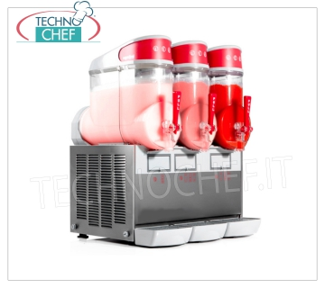 TECHNOCHEF - Machine for Granite / Sorbets / Cold Creams with 3 tanks of lt.10, Mod.MT3 Table-top sorbet with 3 10-liter tanks in unbreakable non-toxic polycarbonate, stainless steel body, air-cooled condenser, V.230 / 1, Kw.1.3, Weight 49 Kg, dim.mm.540x470x690h