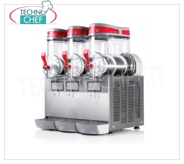 TECHNOCHEF - Machine for Granite / Sorbets / Cold Creams with 3 lt.6 TANKS, Mod.MT3MINI / G Table slush machine, Mini Line, with 3 lt.6 tanks in unbreakable non-toxic polycarbonate, stainless steel body, air cooled condenser, V.230 / 1, Kw.1,3, Weight 54 Kg, dim.mm.540x470x650h