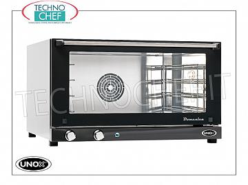 UNOX - Technochef, Electric convection oven, 4 trays of mm. 600x400, Mod.XF043DOMENICA. UNOX ELECTRIC CONVENTION OVEN-MICRO Line, Mod. SUNDAY for GASTRONOMY and PASTRY, capacity 4 TRAYS from mm. 600x400, version with MANUAL CONTROLS, V.230 / 1-400 / 3, Kw. 5.30 / 3.2, Weight 44 Kg, dim.mm. 800x706x472h