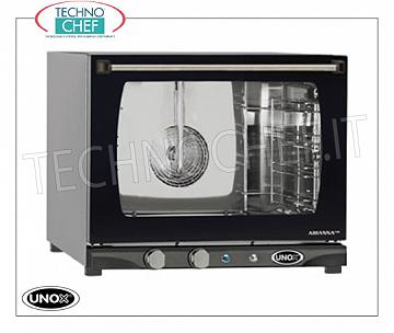 UNOX - Technochef, Electric Convection Ovens with Humidifier 4 Trays, Mod.XFT133MANUALH UNOX-MISS Line electric CONVENTION OVEN, for GASTRONOMY and PASTRY, capacity 4 TRAYS per mm. 460x330, version with MANUAL CONTROLS and HUMIDIFIER, V. 230/1, Kw. 3.00, Weight 31 Kg, dim.mm. 600X655x509h