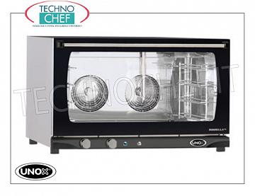 UNOX - Technochef, Electric convection oven with 4-tray humidifier, Mod.XFT193MANUALH UNOX-MISS Line electric CONVENTION OVEN, for GASTRONOMY and PASTRY, 4-TRAYS mm.600x400 capacity, version with MANUAL CONTROLS and HUMIDIFIER, V. 230/1 - 400/3 + N, Kw. 6.5, Weight 49 Kg, dim.mm.800x774x509h