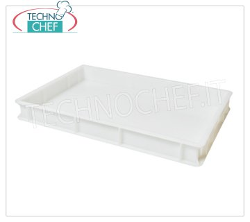 Stackable pizza container 600x400 H70, white color Stackable pizza box, in food-grade polyethylene, white color, dim.mm.600x400x70h
