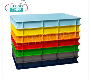 Stackable pizza loaf containers 600x400 H70, available in 7 colors Stackable pizza box, in food-grade polyethylene, light blue color, dim.mm.600x400x70h