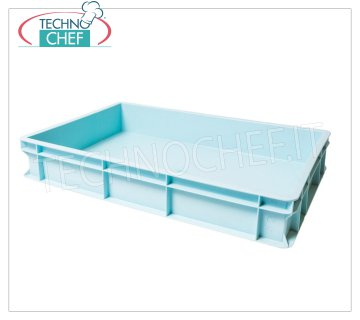 Stackable pizza tin container 600x400 H100, light blue color Pizza stackable pizza box, food grade polyethylene, light blue color, dim.mm.600x400x100h