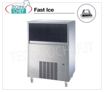 Technochef - VERTICAL CUBE FAST ICE ICE MAKER with STORAGE, Mod.VB250 Ice maker FAST ICE with vertical cubes, max yield 150 Kg / 24h, storage capacity 35 Kg, water cooling, V.230 / 1, Kw 0,85, Weight 75 Kg, dim.mm.738x600x980h