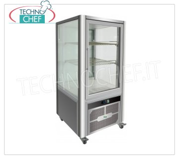Technochef - FRIDGE display cabinet for PASTRY, 1 Door, Ventilated, Temp. + 2 ° / + 8 ° C, lt. 200, Mod.G-VGP200R Professional refrigerated display case for pastry, 1 door, 4 display sides, 2 shelves, Ventilated, temperature + 2 ° / + 8 ° C, capacity lt. 200, led lighting, V.230 / 1, Kw.0,26, Weight 96 Kg, dim.mm.701x742x1300h