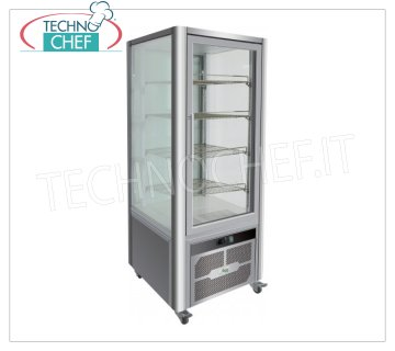 Technochef - FRIDGE display cabinet for PASTRY, 1 Door, Ventilated, Temp. + 2 ° / + 8 ° C, lt. 408, Mod.G-VGP400R Professional refrigerated display for pastry, 1 door, 4 display sides, 4 shelves, Ventilated, temperature + 2 ° / + 8 ° C, capacity lt. 408, led lighting, V.230 / 1, Kw.0.33, Weight 180 Kg, dim.mm.706x740x1800h