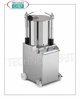 Technochef - Bagging machines for VERTICAL Hydraulic MEATS from 22, 32 and 45 lt VERTICAL hydraulic sausage filler of 22 liters, 3 stainless steel funnels with diameter 14-20-30 mm, V.400 / 3, Kw. 0.52, weight 119 kg, dim.mm.518x568x1188h