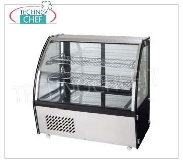 Forcar - REFRIGERATED DISPLAY CABINET, capacity lt.100, Ventilated, mod.G-VPR100 Counter top refrigerated display case with curved glass, VENTILATED refrigeration, temperature + 2 ° / + 8 ° C, capacity 100 liters, ECOLOGICAL Gas R600a, 230/1, Kw 0.15, Weight 57 Kg, external dimensions mm.695x462x670h