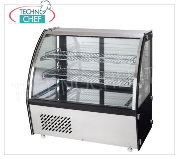 Forcar - REFRIGERATED DISPLAY CABINET, capacity lt.120, Ventilated, mod.G-VPR120 Counter top refrigerated display case with curved glass, VENTILATED refrigeration, temperature + 2 ° / + 8 ° C, capacity 120 liters, ECOLOGICAL Gas R600a, V.230 / 1, Kw 0.16, Weight 70 Kg, dim. external mm.695x580x670h