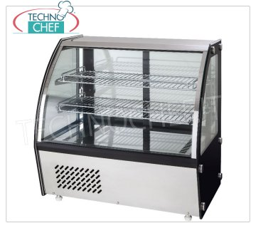 FORCAR - REFRIGERATED SHOWCASE, capacity lt.160, Ventilated, mod.G-VPR160 Counter top refrigerated display case with curved glass, VENTILATED refrigeration, temperature + 2 ° / + 8 ° C, capacity 160 liters, ECOLOGICAL Gas R600a, V.230 / 1, Kw.0.16, Weight 75 Kg, dim. external mm. 873x580x670h