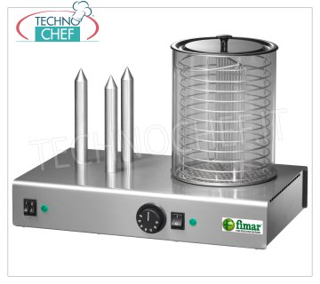 Fimar - HOT DOG MACHINE with 3 PUNCHES and WÜRSTEL WARM CYLINDER, Mod. WD3 Hot Dog Machine with 3 PUNZONI stoves and Würstel cylinder with bain-marie, thermostat 30 ÷ 90 ° C, V.230 / 1, Kw.1,1, Weight 10 Kg, dim.mm.480x300x350h