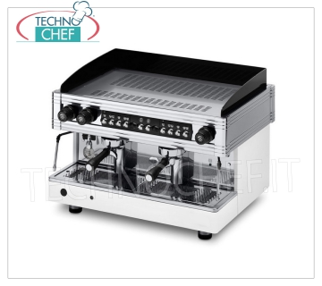 WEGA - Technochef, Professional Coffee Machines for Bars, Automatic with 2 groups, Mod EVD20G Professional Espresso Machine for Bar, Automatic with 2 groups, Orion Gold Line, WEGA Brand, volumetric coffee dosage, 12 lt boiler, 2 steam lances, Hot Water, V.230 / 3-400 / 3 + N, Kw .3.6 / 3.9, Weight 84 Kg, dim.mm.720x545x515h