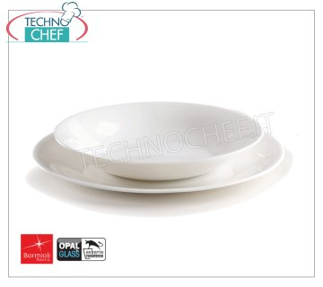 BORMIOLI ROCCO - WHITE MOON Collection WHITE GLASS - Dishes for Restaurants SET 12 PIECES (6 flat plates 27 cm + 6 deep plates 23 cm), WHITE MOON Collection, WHITE OPAL GLASS, Brand BORMIOLI ROCCO - Price for pack of 18 pieces