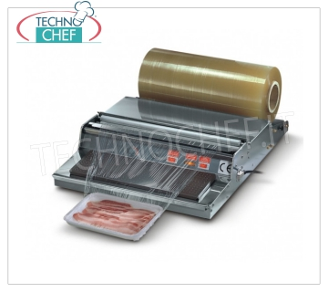 TECHNOCHEF - Manual bench top packer for film, Mod. WP450 AUTOMATIC DISPENSER for film counter, in STAINLESS STEEL, HEATING PLATE 385x125 mm adjustable through THERMOSTAT, V. 230/1, Kw 0.65, dimensions mm 485x600x140